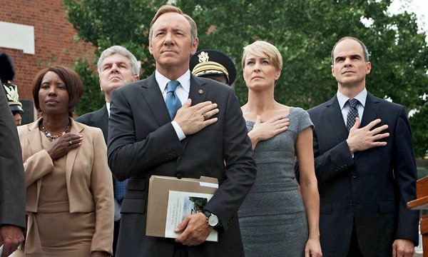 Kevin Spacey, Robin Wright and Michael Kelly in House of Cards.