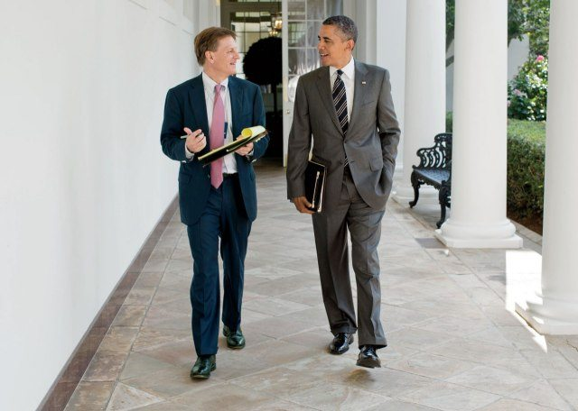 Vanity Fair's Michael Lewis with Barack Obama at the White House in 2012. Photo by Pete Souza.