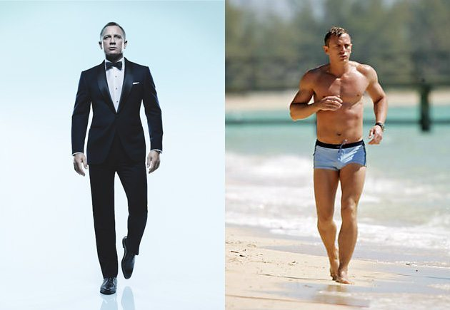 Left: Daniel Craig in Tom Ford for Rolling Stone (photo by Matthew Rolston); Right: Daniel Craig in Casino Royale (© 2006 Eon Productions / MGM / Columbia Pictures)