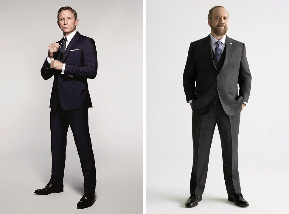Daniel Craig, left, in a publicity photo for SPECTRE (MGM); Paul Giamatti for Billions (Showtime).