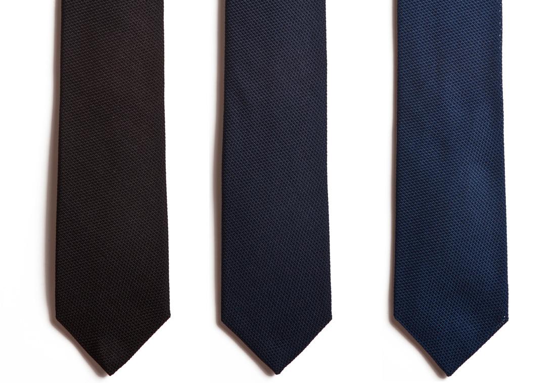 Italian grenadine ties in black, navy and blue from Chipp.