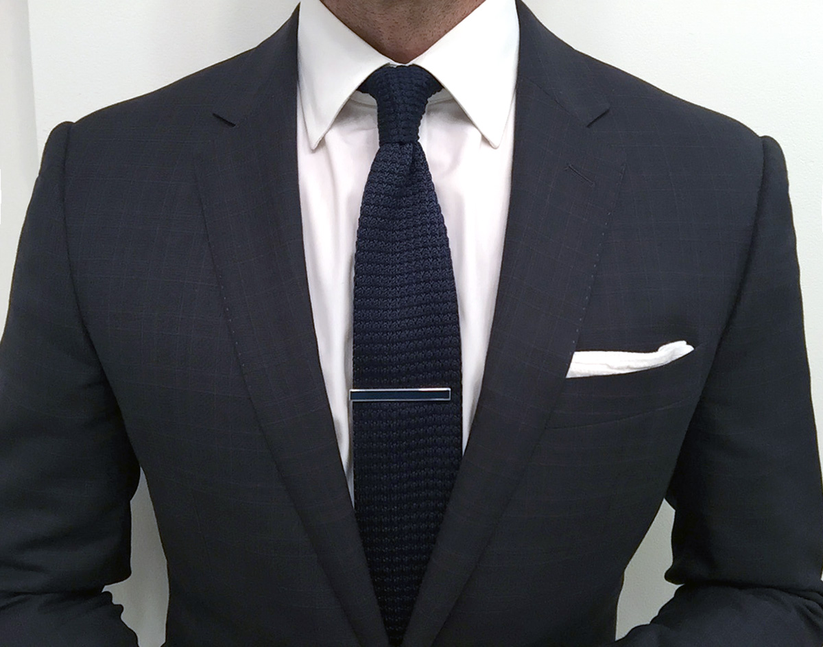 Yours truly sporting a rhodium-plated tie clip with navy enamel.