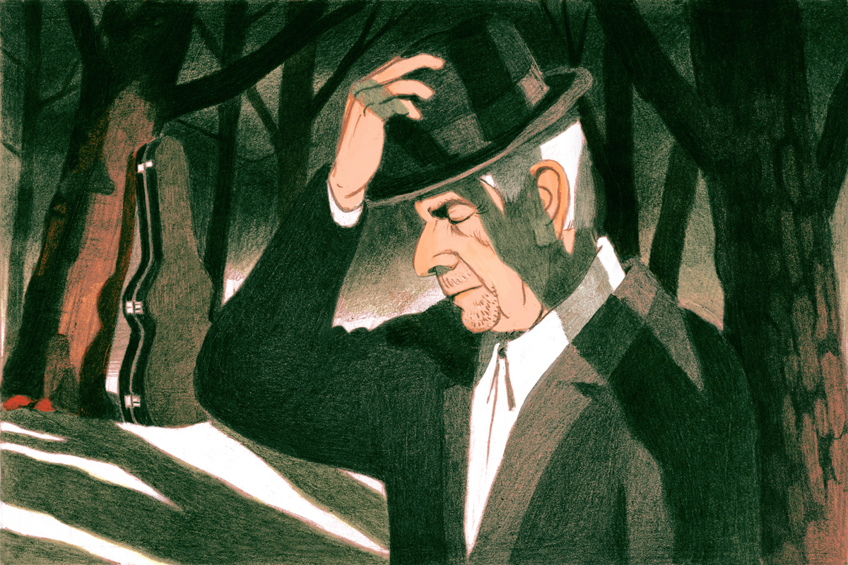 Illustration of Leonard Cohen by Antoine Maillard for The New Yorker.